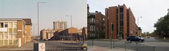 Myrtle Street from Grove Street, Liverpool 7. 2 March 1986 and 17 October 2014.  Now and Then. (philipgmayer) Tags: camera students liverpool zenit 1986 demolished 1000 zenith grovestreet myrtlestreet minstercourt myrtlehouse entwistleheights myrtlegardens