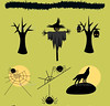 Halloween_scarecrow_trees_spiders_wolf (ragerabbit) Tags: trees moon holiday castle halloween grass set cat fence dark pumpkin skull wings eyes funny wolf spiders stones cartoon scarecrow silhouettes illustrations owl bones ghosts creatures celebrate vector bats