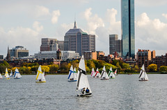Boston's Hancock Buildings from across the Charles River (Tex Texin) Tags: family chris wedding cambridge boston skyline sailboat shower massachusetts charlesriver cheryl bridal