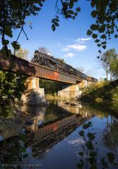 NKP 765 in Monroeville, OH (Brandon Townley) Tags: railroad reflection river railway trains steamengine nickelplateroad steamlocomotive nkp nkp765 fortwaynerailroadhistoricalsociety brandontownley