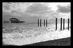 West Pier, Brighton (LukeAndrew94) Tags: old uk sea england blackandwhite bw seascape beach water clouds photoshop sussex pier worthing nikon ruins brighton waves britain hove border pebbles westpier seafront southcoast brightonbeach eastsussex lewes brightonpier 2014 d3100 porstlade