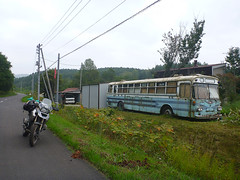 Meishi bus (previous painting) (mega_midget_racer) Tags: blue trees sea sky bus tree green cars abandoned nature car bike japan forest hokkaido bmw  motorcycle  touring gravel rustycars r1200gs