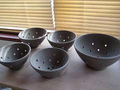 Berry Bowls and Colander (Jude Allman) Tags: ceramic berry ceramics crafts craft bowl pot pots jude clay pottery bowls making stoneware allman
