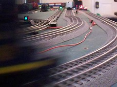 i've been working on my railroad.  5 trains on 3 tracks (mf.flaherty) Tags: car train video o c gang hudson express f3 lionel wreck legacy steamengine collision switcher modeltrains 2055 preamble lioneltrain ogauge tmcc hudson2055 coswitcher