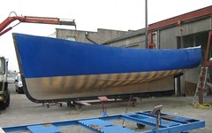 A Cygnus GM32 moulded hull - similar to that of our new boat, SONTAY: robust and seaworthy (paulandmaryafloat) Tags: boat strength hull moulding boatyard grp sontay seagoing seaworthy trawleryacht cygnusgm32 grpmoulding