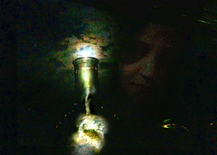 Moonshine in a bottle (therapyprojects (mostly away for the summer)) Tags: light sky moon window lamp face night clouds digital dark painting bottle