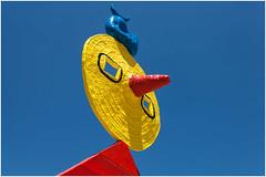 Joan Mir - The caress of a Bird (SergeK ) Tags: barcelona blue red bird art yellow museum modern jaune rouge hill joan catalonia musee caress oiseau montjuc mir honoring joanmirfoundation thecaressofabird