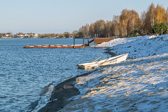Early snow (andrey.senov) Tags: blue autumn white snow fall water river boat october fuji russia bank fujifilm province volga x10     kostroma      10faves     fujifilmx10