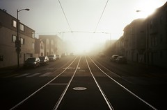 On a quiet Sunday morning (Robert Ogilvie) Tags: fog rails wired foundinsf gwsf kodakektar100