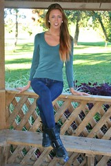 Gazebo Fashion (PhotoAmateur1) Tags: park blue autumn trees portrait woman brown cold green fall feet beautiful beauty smile face grass leaves weather smiling shirt female river hair neck photography sweater model eyes woods shoes long photoshoot arms legs boots sweet head top feminine background gorgeous femme country lips jeans denim tall shoulders brunette thin photosession magnificent collarbones october42014