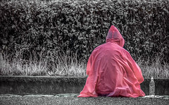 All the things that were meant to be... (Dale Michelsohn) Tags: pink wet water rain weather alone sitting dale stormy poncho michelsohn dalemichelsohn