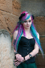 Hair Colour (saxman1597) Tags: portrait england woman halloween girl beauty graveyard lady female costume yorkshire gothic goth whitby colouredhair nikond300s nikon18300vr nissindi622mk2 whitbygothfestivalnov2014 gothfestival2014