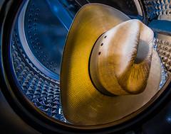 Hat in Washing Machine (e_impact) Tags: usa inspiration hat america straw boredom clean homealone 365 wtf washingmachine cowboyhat wildwest washing strawhat day12 clich hcs cattleman project365 strobist resistol clichsaturday cattlemanshat