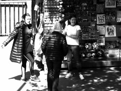 View from bus (Draopsnai) Tags: uk england blackandwhite bw london monochrome laughing women grayscale marketstall viewfrombus touristshop