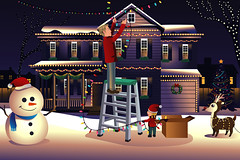 Father son putting up lights around the house for Christmas (hungcus) Tags: vector illustration cartoon drawing clipart modern decorating decorate decorative christmas xmas father son male boy adult young people fatherhood parenthood family parent season seasonal tradition traditional holiday festive lifestyle leisure recreation happy happiness smile snowman winter christmastree garden yard outdoor house putup lights reindeer decoration