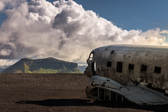Crashed (Mike_Y_Wong) Tags: iceland beach sky clouds sand travel lavasand plane wreck planewreck dc3 usnavy crash vik southcoast