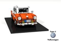 Volkswagen Type-3 Fastback (lego911) Tags: vw volkswagen type3 typeiii fastback coupe mod 1965 1960s classic german germany auto car moc model miniland lego lego911 ldd render povray boxer lugnuts challenge 107 saturdaymorningshownshine saturday morning show n shine