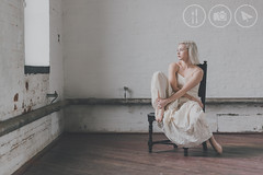 Distant Thoughts (Adrian Court LRPS) Tags: chair emtheresa model naturallightstudio northamptonshire pipes skirt stare studio weedonbec window white pretty barefoot sexy gorgeous skin pale hair blonde naturallight wood floor pipework pipe sultry foot