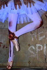 Chance Can Dance (Little Hand Images) Tags: universalstudioshalloweennights2016 ballerina horror halloween tutu balletshoes bloodandgore staticdisplay creepy words bloodyhands blacklight