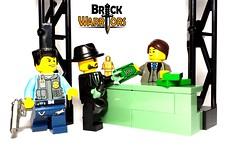Casing the Joint (BrickWarriors - Ryan) Tags: brickwarriors custom lego minifigure weapons helmets armor guns bank robber combat pistol police officer heist modern city