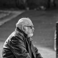 Waiting In The Sun (Rob Jennings2) Tags: candid candidshot bracknell leather leatherjacket sitting sit sat waiting blackandwhite monochrome people