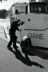 Taking care of Diane (g e r a r d v o n k ) Tags: artcityart art backlight boats blackandwhite canon city canon5d3 expression eos europe flickrsbest fantastic flickraward grey holland haven harbor jeneverstad lifestyle ngc newacademy nederland photos reflection stad street summer schiedam ships this travel unlimited uit urban outdoor whereisthis where work yabbadabbadoo