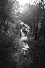 Away. (FlorianPascual) Tags: ifttt 500px girl black white running runaway hair sky dress skirt forest florian pascual charlne guardiola stormette back moving le cres montpellier light