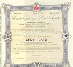 CASSA OPERAIA SANT'AGATA (scripofilia) Tags: 1903 agata azioni cassa operaia santagata