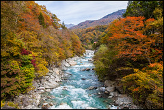 Japanese Autumn (Ingo Tews) Tags: japan japanese japanisch tree trees green gruen wasser water outdoor heiter autumn herbst river fluss stone stones forest wald stein steine farben colors red brown braun rot japanesealps alps alpen japanalps japanischealpen shinhotaka