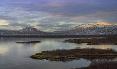 Clarity (Chipyluna) Tags: ingvellir iceland mountains lake water reflection purple yellow blue clouds sky landscape wonder earth nature beautiful scenery trip holiday outdoors colours big snow nikon nikond3200 d3200 outdoor serene mountain ice simplysuperb