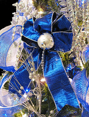 Blue Christmas (Puzzler4879) Tags: christmas bows christmasornaments blue blueandsilver christmastreeornaments christmastreedecorations christmasdecorations a580 canona580 powershota580 powershot canon canonpowershota580 canonaseries canonphotography canonpointandshoot pointandshoot