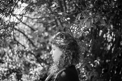 (Esther'90) Tags: portrait portraitphotography portraitwoman portraiture woman womanportrait bokeh bokehbackground nature natural naturallight summer summertime sunshine sunlight cousin curly hair leafs leaves scotland blackandwhite blackandwhiteportrait