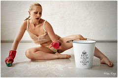Keep Calm And Clean On (MikeRhys) Tags: bucket brush handcuffs handcuffed rubber gloves water soap cleaning clean sitting woman lingerie floor purpleport