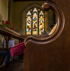 DSC_1106 (colejennie) Tags: sunday church pew stainedglass stainedglasswindow light sunlight peace calm reflection