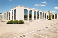 vermont-5249-ps-w (pw-pix) Tags: windows glass building wall walls shapes numbers parking spaces lines markings grasses plants shrubs trees concrete reflections sky clouds sunny bright summer green blue grey beige cream white black brown gardens commercial buildings fujifilmimageplus offices warehouses architecture modern faux classical light sign mitchamroad vermont easternsuburbs outereast melbourne victoria australia