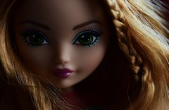 Dawn Wind (jessandgrace) Tags: doll portrait colorimage colors closeup face eyes lips light shadow hair red greeneyed strawberryblonde braid ashlynnella everafterhigh pretty beauty glamour cute indoor