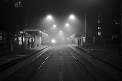 Schmiede Wiedikon (maekke) Tags: zürich wiedikon schmiedewiedikon zvv publictransport vbz streetphotography bw noiretblanc night fog man woman couple silhouette 2016 fujifilm x100t 35mm