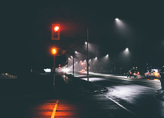 mild night in january (thatgirlwiththekicks) Tags: winter mild fog rain night street lights stthomas ontario canada stop cross