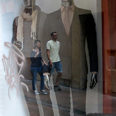 Walkers (Nature and human beings) Tags: reflection duo streetphotography reflet corps both bodies vitrine streetaction
