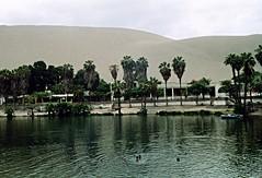 Huacachina, Peru (Ron's travel site) Tags: peru southamerica oasis 1998 filmcamera om1 huacachina huacachinaoasis olypusom1 flickrandroidapp:filter=none