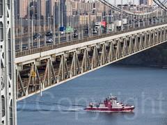 FDNY THREE FORTY THREE Fire Rescue Boat at the George Washington Bridge, New York City (jag9889) Tags: nyc newyorkcity bridge usa ny newyork river newjersey crossing unitedstates manhattan unitedstatesofamerica nj hudsonriver gw fdny firedepartment gwb fortlee waterway fireboat gardenstate georgewashingtonbridge washingtonheights 343 2014 bravest wahi northriver firstresponder bergencounty newyorkcityfiredepartment k007 zip07024 07024 firedepartmentofthecityofnewyork jag9889 20141111