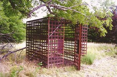 11. In their city park is this strange cage, that I think was once used as a city jail! Belpre, 6-23-09 (leverich1991) Tags: church catholic exploring kansas edwards 2009 belpre