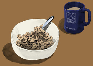 I drew my pumpkin spice cereal while drinking my pumpkin spice coffee