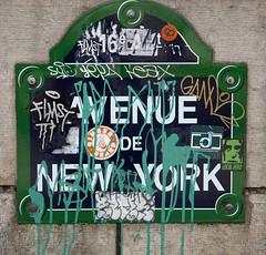 avenue de new york : paris, france (2014) (he who would be lost) Tags: street new york summer paris france saint sign scott de graffiti richard avenue désespoir torbakhopper
