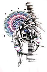 Sacred Feathers (amanda_mamilia) Tags: pink blue red color detail green art geometric tattoo illustration circle print skeleton skull design cool graphics artist pattern purple native drawing geometry decorative teeth awesome traditional feathers picture shapes horns tshirt funky tribal line jewellery national snowboard sacred skateboard bone illustrator greetingcard markers indigenous copic headdress primitive selectivecolour tattooist textas fineliners floweroflife repetitve