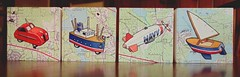 The Complete Set of Four Paintings - October 27, 2014 / Explored! (steveartist) Tags: art collage toys artwork maps paintings watercolors toycars 2014 artonpaper smallworks explored toysailboats toyships stevefrenkel worksart toyairships imaginarytoys toyairship toydirigibles