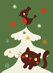 A vintage christmas - card tree (by BORA) Tags: christmas xmas cute vintage print cards pattern drawing retro card postcards whimsical deborahvandeleijgraaf designbybora