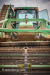 Young woman driving a large cucumber harvester at a  cucumber farm near Federalsburg, Maryland, USA (Remsberg Photos) Tags: woman usa tractor female farm cucumber harvest maryland equipment ag farmer agriculture pickle cucumbers harvesting federalsburg
