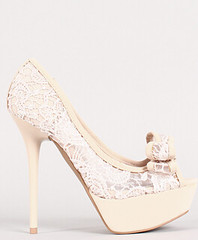 "bow lace peep toe platform pump 100 beige • <a style=""font-size:0.8em;"" href=""http://www.flickr.com/photos/64360322@N06/15556344641/"" target=""_blank"">View on Flickr</a>"