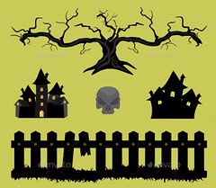 Halloween_fence_tree_castles_skull (ragerabbit) Tags: trees moon holiday castle halloween grass set cat fence dark pumpkin skull wings eyes funny wolf spiders stones cartoon scarecrow silhouettes illustrations owl bones ghosts creatures celebrate vector bats